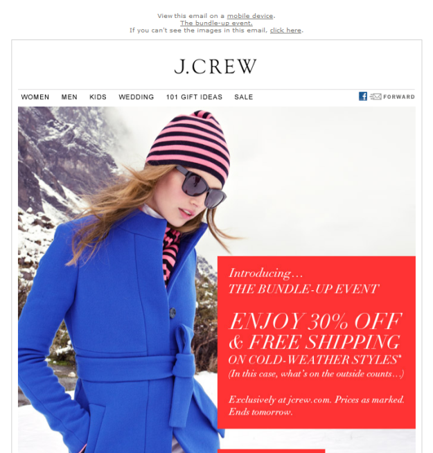 J. Crew ad with images
