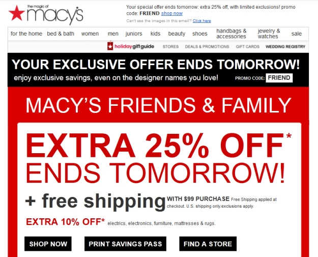 Macy's ad with images