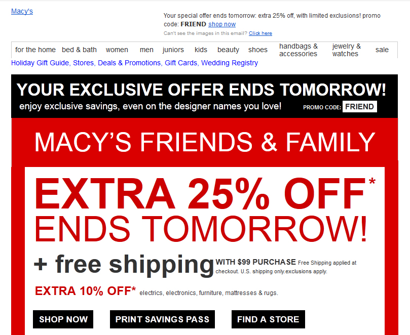 Macy's ad with no images