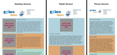 3 views of responsive design