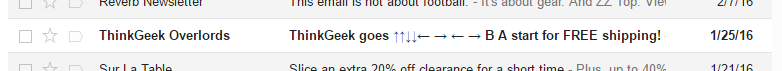 Konami Code subject line